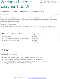 Writing A Letter Is Easy As 1 2 3 Lesson Plan Education Com
