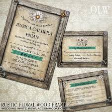 rustic wedding invitation rsvp card accommodations card rustic Crystal Wedding Invitation Frame rustic wedding invitation rsvp card accommodations card rustic wood frame border parchment background daisy flowers diy invitation Rhinestone Wedding Invitations