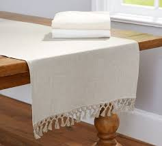 fringed linen knotted table runner