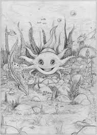Small Picture Axolotl coloring page printable from the Alphamals coloring