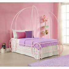 GIRLS PINK TWIN Size Metal Canopy Bed Frame Princess Carriage Headboard Bedroom