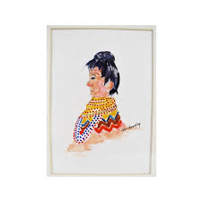 Vintage Watercolor Native American Painting by Ida Bradley | Chairish