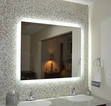 bathroom mirrors with led lights. Bathroom: Excellent Led Wall Mounted Lighted Bathroom Mirror With Touch Button And Sink Steel Faucet For Your Modern Apartment From Mirrors Lights U