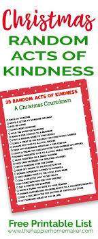 Christmas Random Acts Of Kindness Printable List Of Good Deeds