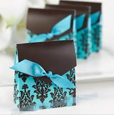<b>100pcs</b> Teal Blue Damask <b>Wedding</b> Favor Boxes Baby Shower ...