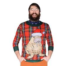 About this item Men\u0027s Costume Ugly Christmas Sweater Plaid Walrus, Long Sleeve Tee