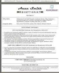 Gallery Of Receptionist Resume Examples 2016 Resume Example For
