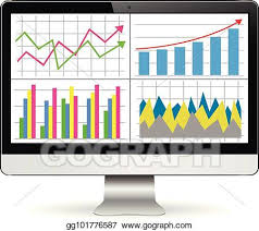 Clip Art Charts And Graphs Vector Art Computer Screen With Financial Charts And