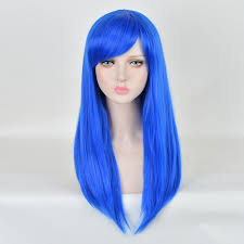 dels about child small size blue long natural hair wig anime cosplay party makeup wigs