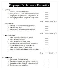 Sample Employee Performance Appraisal Employee Performance Evaluation Evaluation Evaluation Employee