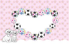 サッカーボールとハートのおしゃれでかわいいわんちゃんカード作家