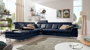 Interliving Sofa Serie 4050 Wohnlandschaft Nachtblaues Longlife Leder Cloudy Nightblue Chromfüße Schenkelmaß Ca 2