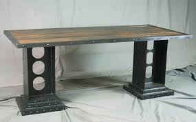 office dining table. Custom Conference Table For Office Reclaimed Wood Dining With Solid Top And Modern Steel Uptown Legs