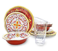 Melamine Dinnerware Designs Melamine Dinnerware Set 16 Piece Medallion Design Melamine Plates Bowls And Acrylic Tumblers Suitable Indoors And Outdoors Shatter Proof And