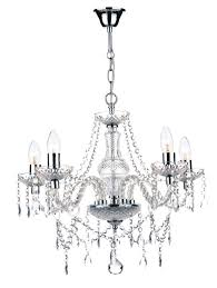 katie 5 light polished chrome crystal chandelier