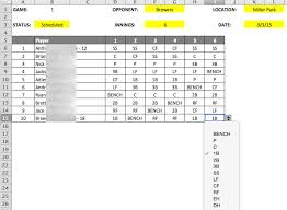 Baseball Lineup And Position Chart Youth Baseball Lineup Manager And Template Spiders Elite