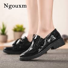 ngouxm autumn womens oxfords loafers shoes woman patent leather flats loafers footwear female flat oxford shoes