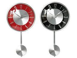 pendulum wall mounted clock chrome