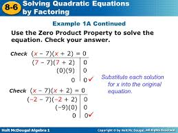 example 1a continued use the zero property to solve the equation check your answer