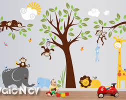 safari wall decals nursery wall decals monkey wall decals baby wall decals jungle wall decals plmg050 on jungle wall art for baby room with cocalo jacana bedding nursery wall decal baby wall decals