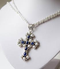large cross pendant with blue stones and pearls with necklace 925 silver