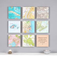 personalised map square wall art birthday gift for him