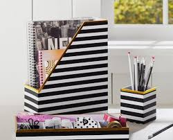 white office decors. Black And White Office Decor Inspirational Printed Desk Accessories Stripe With Gold Trim Pbteen Decors