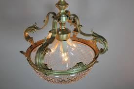 spanish crystal basket and bronze semi flush mount chandelier for 4