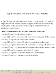 Top 8 hospital unit clerk resume samples In this file, you can ref resume  materials ...