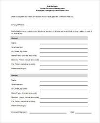 Employment Emergency Contact Form Free 8 Employee Emergency Contact Form Samples In Pdf Word