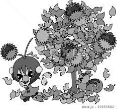 秋と女の子の可愛いイラスト 栗の木 のイラスト素材 30455662 Pixta