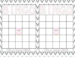 Printable Bingo Card Template Baby Shower Blank Cards Free Picture