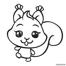 Vector Cute Squirrel Coloring Page Illustration Buy This Stock