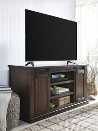 signature design by ashley w562 48 budmore 60 tv console sliding barn doors
