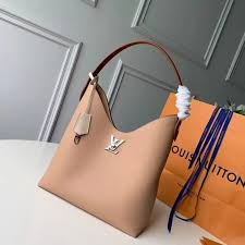 louis vuitton calf leather lockme hobo shoulder bag m44330 beige