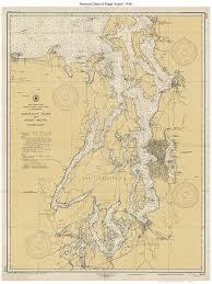 Puget Sound 1946 Nautical Map Washington Pc Big Area 6401 Reprint