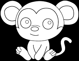 Cute Baby Monkey Coloring Pages With Free Monkey Cartoon Clipart