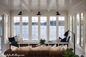 sunroom lighting ideas. Lake House Blue And White Sunroom Lighting Ideas G