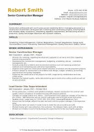 Construction Operation Manager Resume Construction Manager Resume Samples Qwikresume