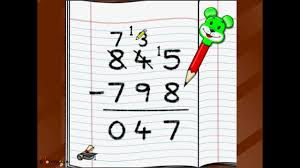 Image result for subtracting 4 digit numbers with carrying