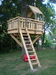 Remarkable Kids Tree House Concept With Natural Wood Grain Treatment Tree  Fort Ladder,