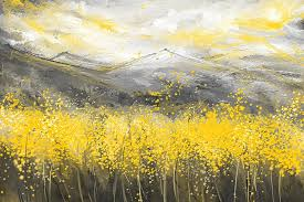 yellow painting neutral sun yellow and gray art by lourry legarde