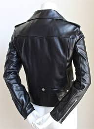 jet black er soft leather biker jacket with silver hardware by hedi slimane for saint lau