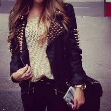 shirt beige jacket studs black gold leather jeans sweater girly edgy retro fesh geil wooooow wunderschön