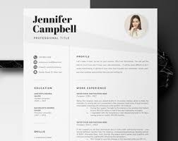 Creative Resume Templates Microsoft Word Inspiration Microsoft Word Resume Template Creative Resume Design With Etsy