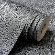 Beste Kopen Silver Grey Zwart Metallic Geweven Behang Roll Grijs