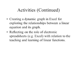 activities continued creating a dynamic graph in excel for exploring the relationships between a