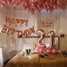 rose gold 21st birthday balloon decor