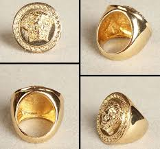 gold plated bling bling ring with medusa head swag hip hop jewelry