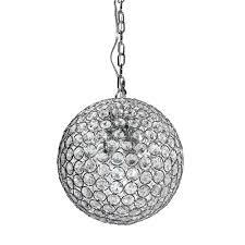 decor living 1 light chrome and crystal pendant